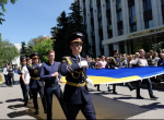 State Ukrainian and the EU flags were hoisted